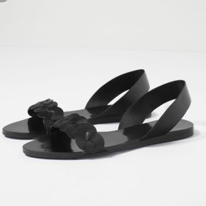 Zara authentic leather black sandals